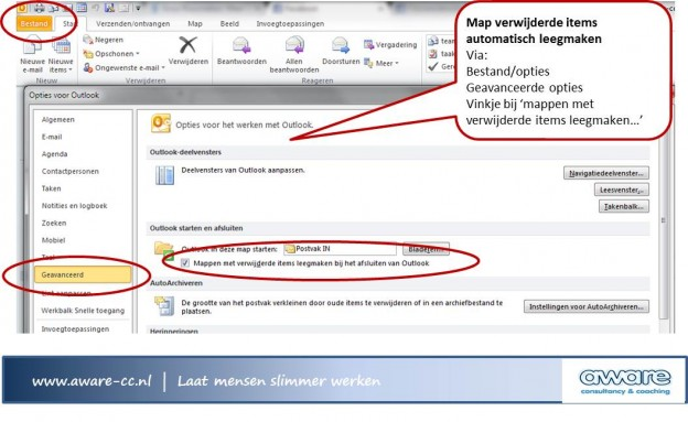 outlook map verwijderde items leegmaken