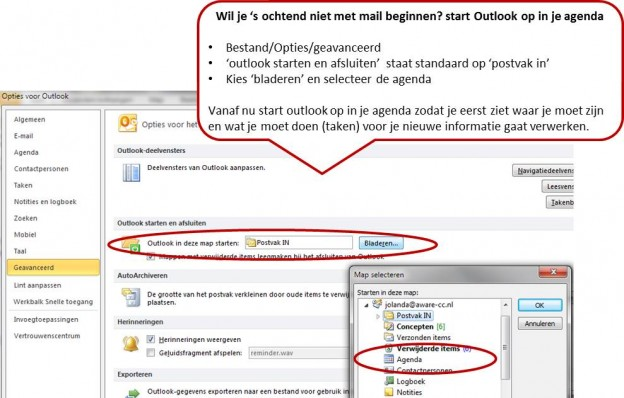 outlook opstarten in agenda