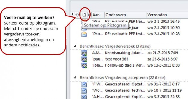 e-mail sorteren op pictogram