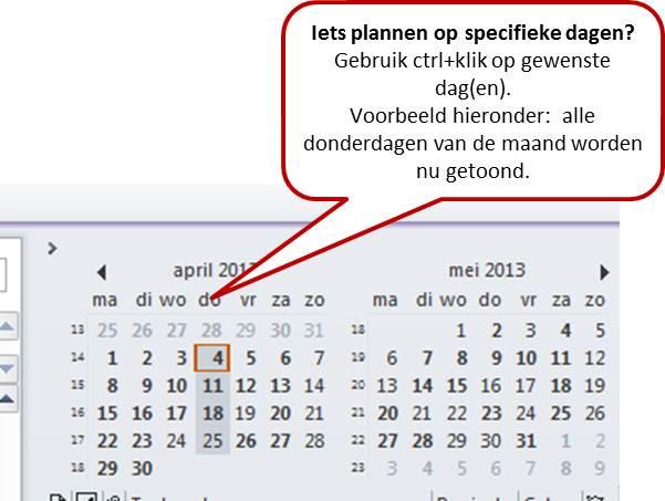 specifieke dagen selecteren in Outlook agenda