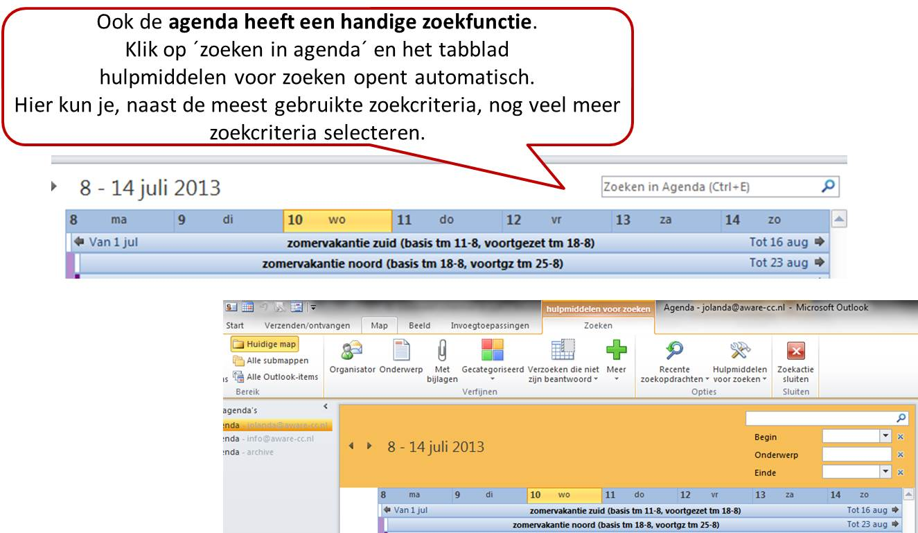 zoeken in outlook agenda