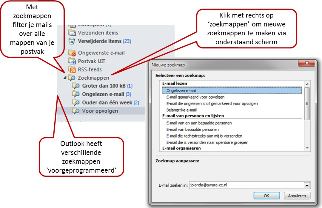 Outlook zoekmappen om e-mail te filteren