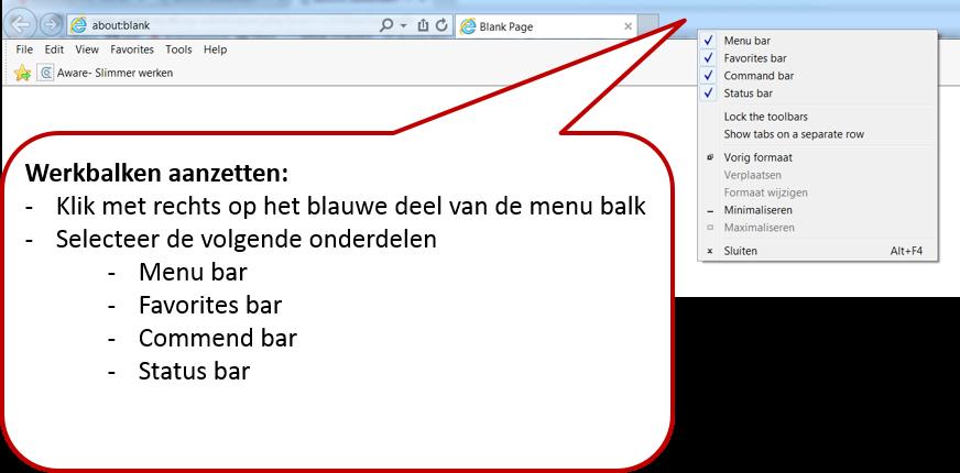 werkbalken internet Explorer