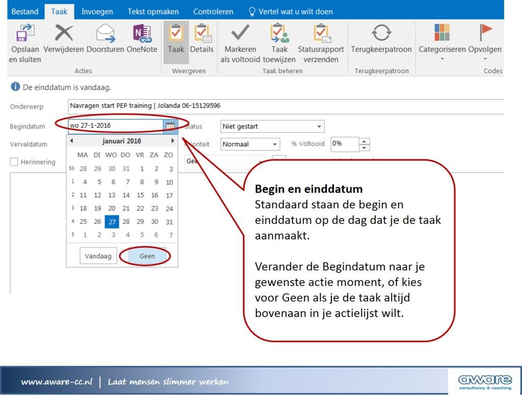 Outlook taak begin en einddatum