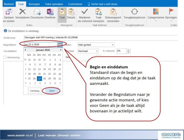 Outlook taken begin en einddatum