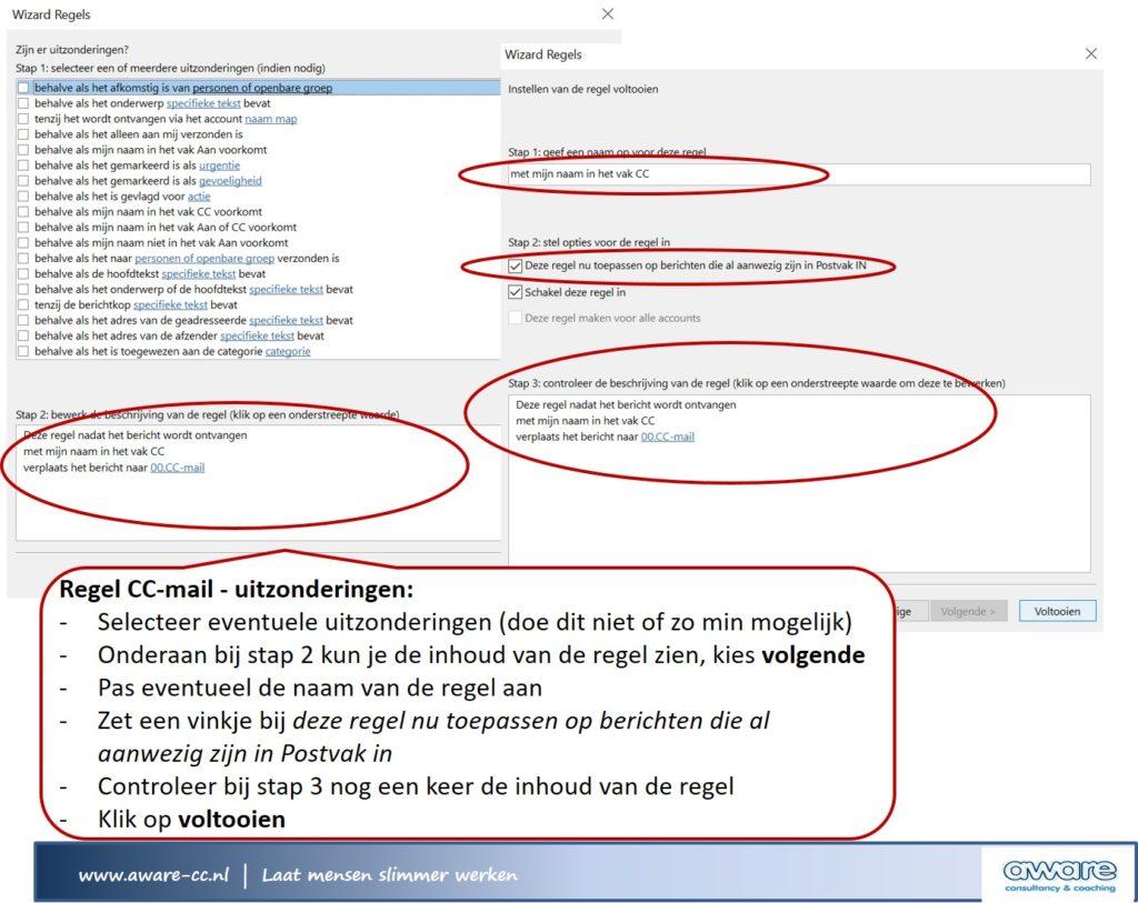 regels cc-mails uitzondering