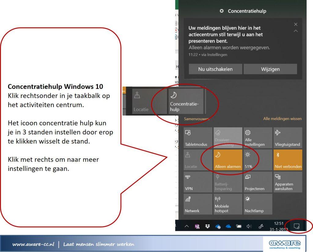 concentratiehulp Windows 10