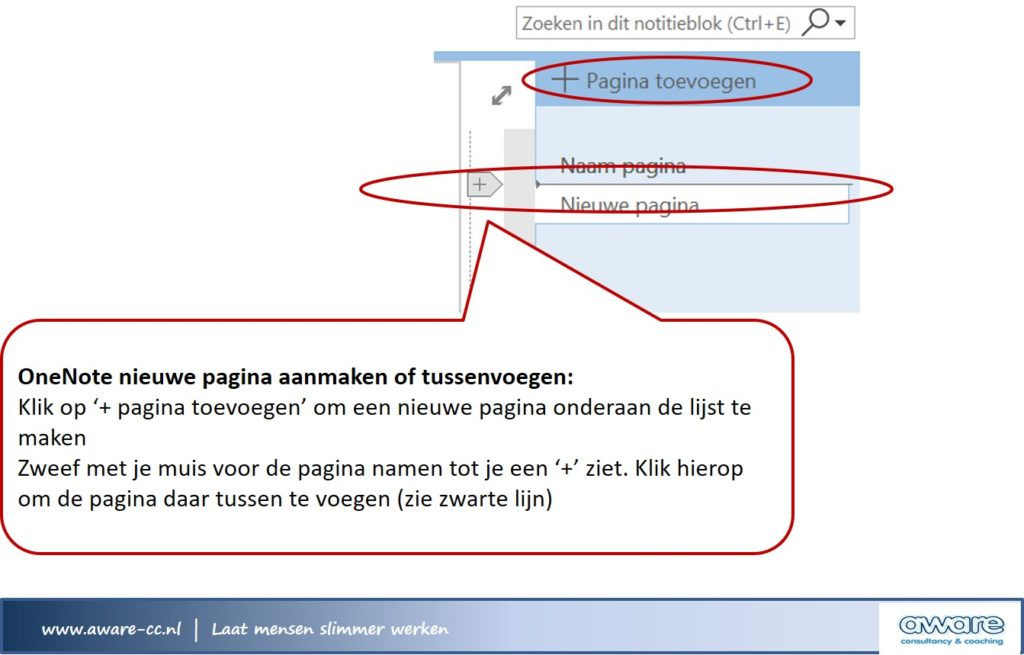 Pagina aanmaken of tussenvoegen