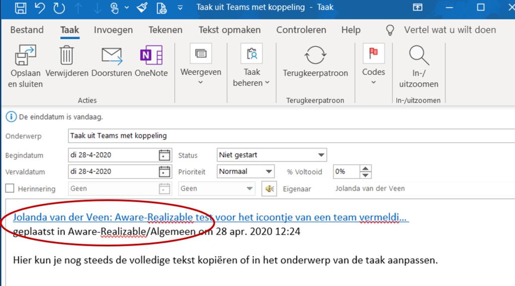 Koppeling bericht Teams aan Outlook taken