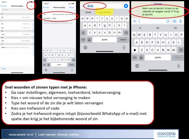 Teskt automatisch aanvullen iPhone