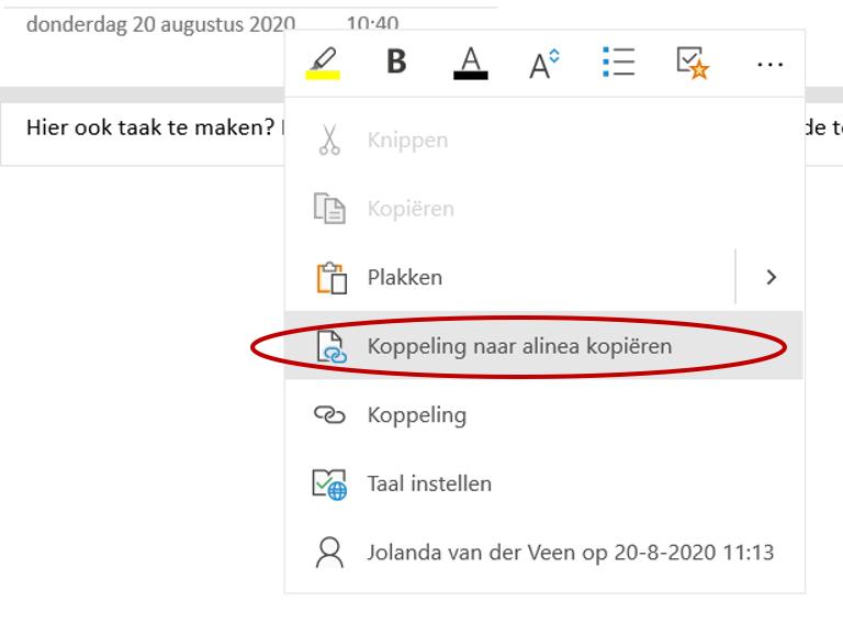 Outlook taak maken via koppeling in OneNote