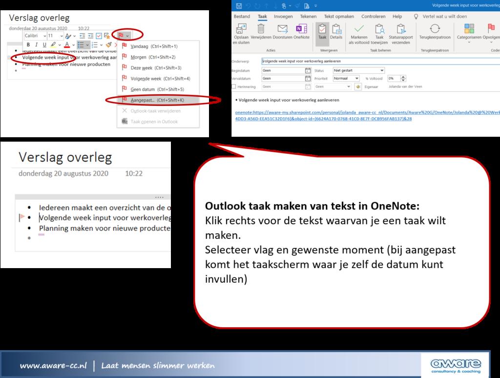 Outlook taak maken van tekst in OneNote