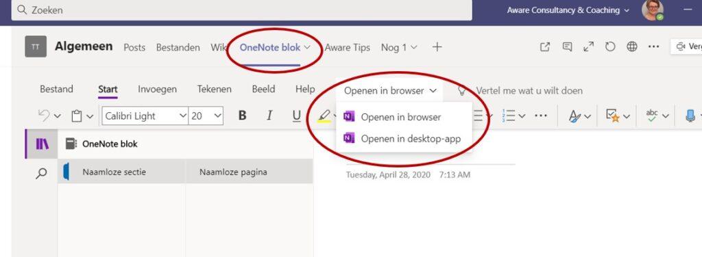 OneNote openen in desktop app