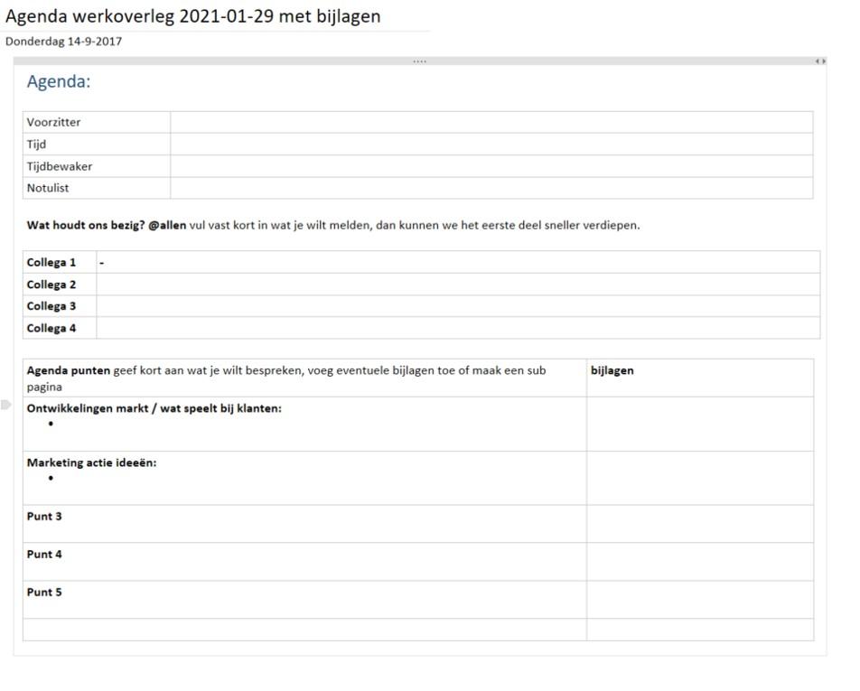 Voorbeeld sjabloon agenda overleg in OneNote