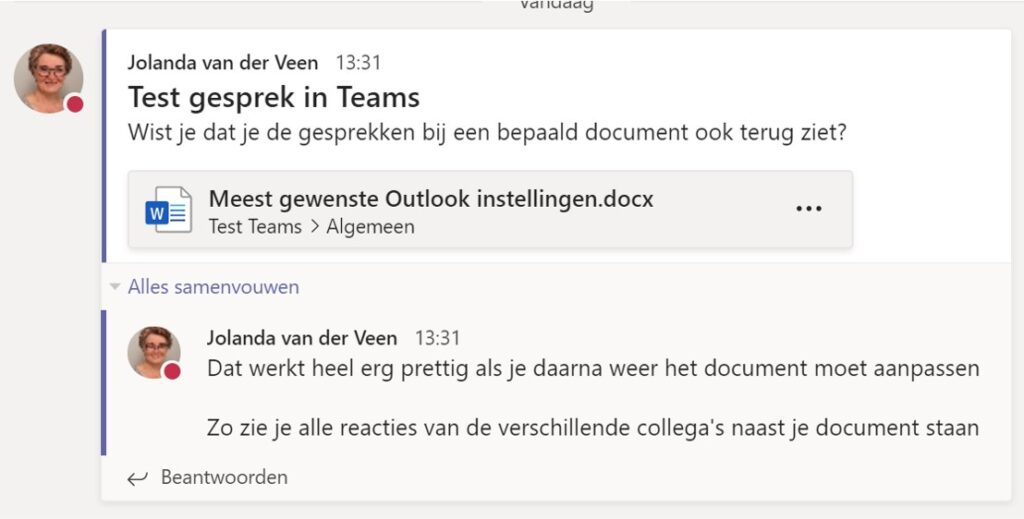 Gesprek koppelen aan document in Teams