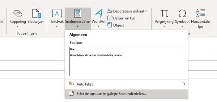 Tekst blok via Snelonderdelen in Outlook maken