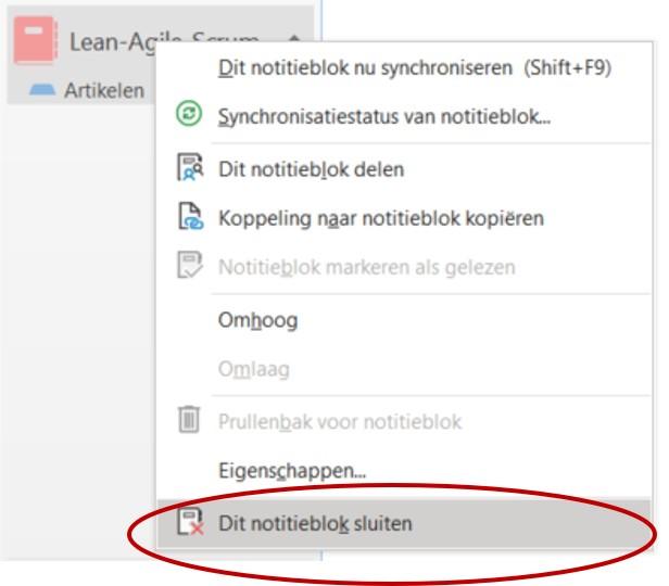 OneNote notitieblokken sluiten of verwijderen